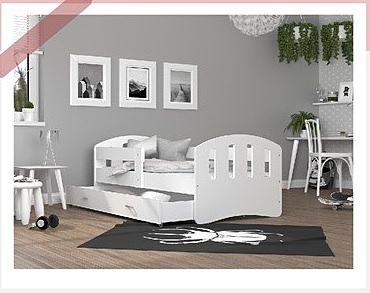 Otroška postelja Srečko, bela 200 x 80/90 cm