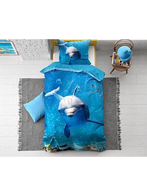 Bombažna posteljnina Dolphin Blue