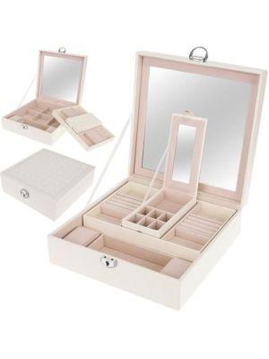 Organizator/škatla za nakit z ogledalom 8895 - bela