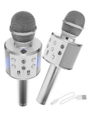 Mikrofon za karaoke z zvočnikom - srebrn