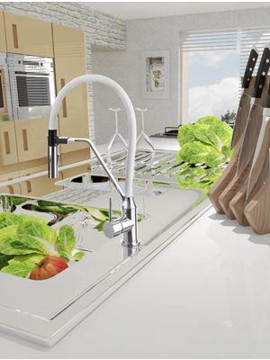 Enoročna kuhinjska armatura Alvito Magnetic White