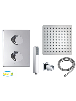 Podometni termostatski  tuš set Alvito 3002 / 4 dimenzije