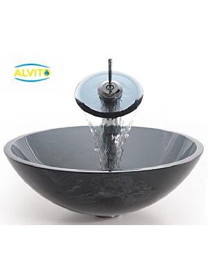 Kopalniški umivalnik Alvito Steklo HC6030 + armatura