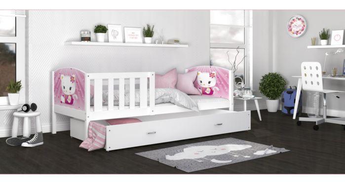 Otroška postelja s predalom TANJA 1 160/190x80 ali 200x90 cm