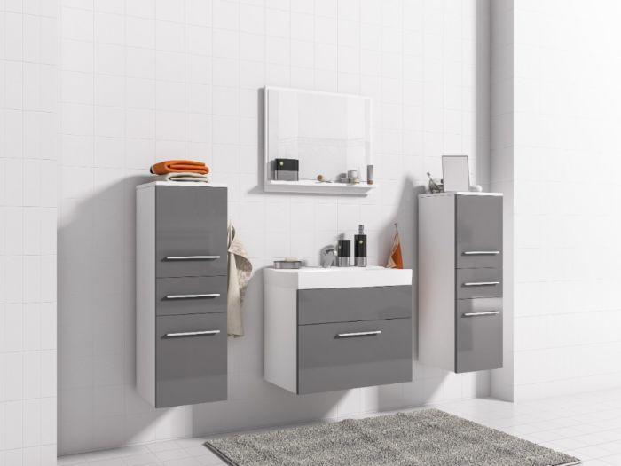 Mimi kopalniško pohištvo - Bela / Siva - visoki sijaj