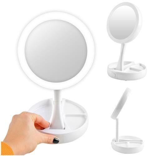 Gibljivo dvostransko ogledalo za ličenje z LED lučjo 360°